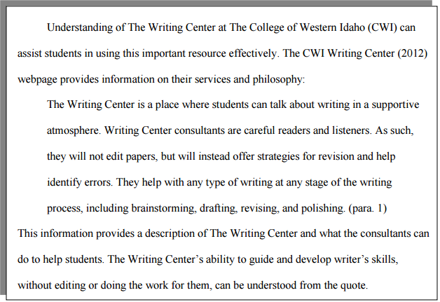 How do i format a block quote with apa formatting cwi