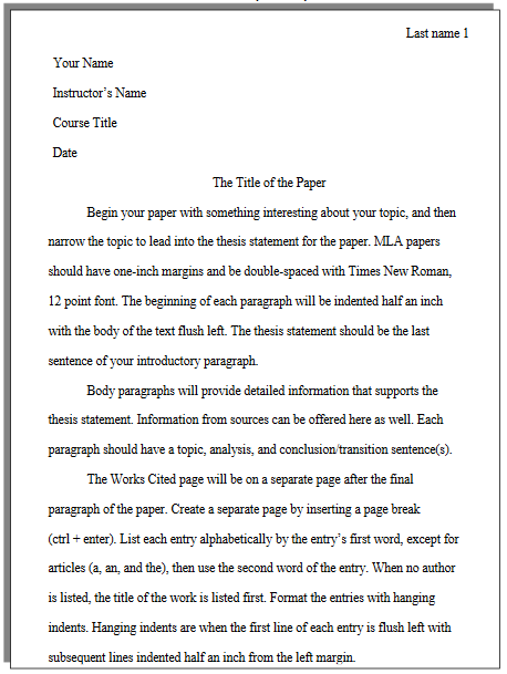 what does an mla paper look like college of western idaho this is a visual example of the first page of an mla paper