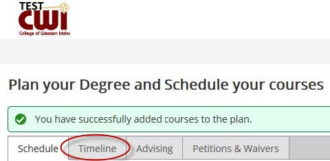 If You Would Like To See All Of The Courses Planned Using The Course Plan  Tool Go To Your Timeline.