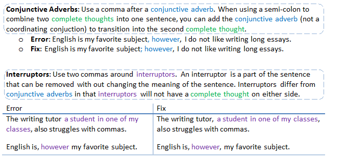 part three of the chart in which conjunctive adverbs are discussed