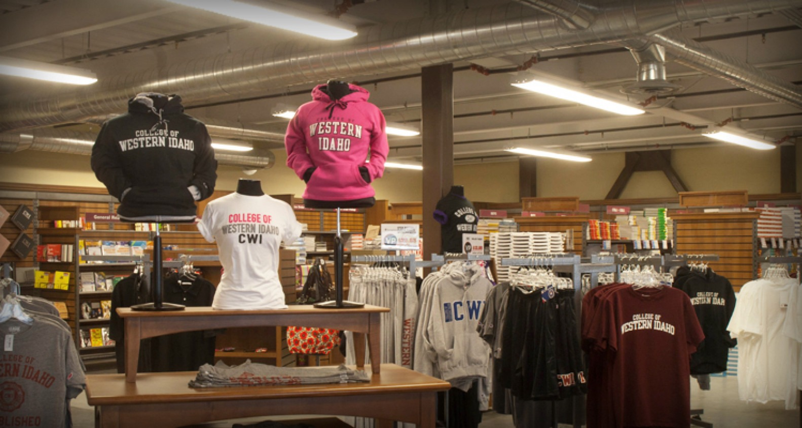 Apparel, supplies, and books in the CWI Bookstore