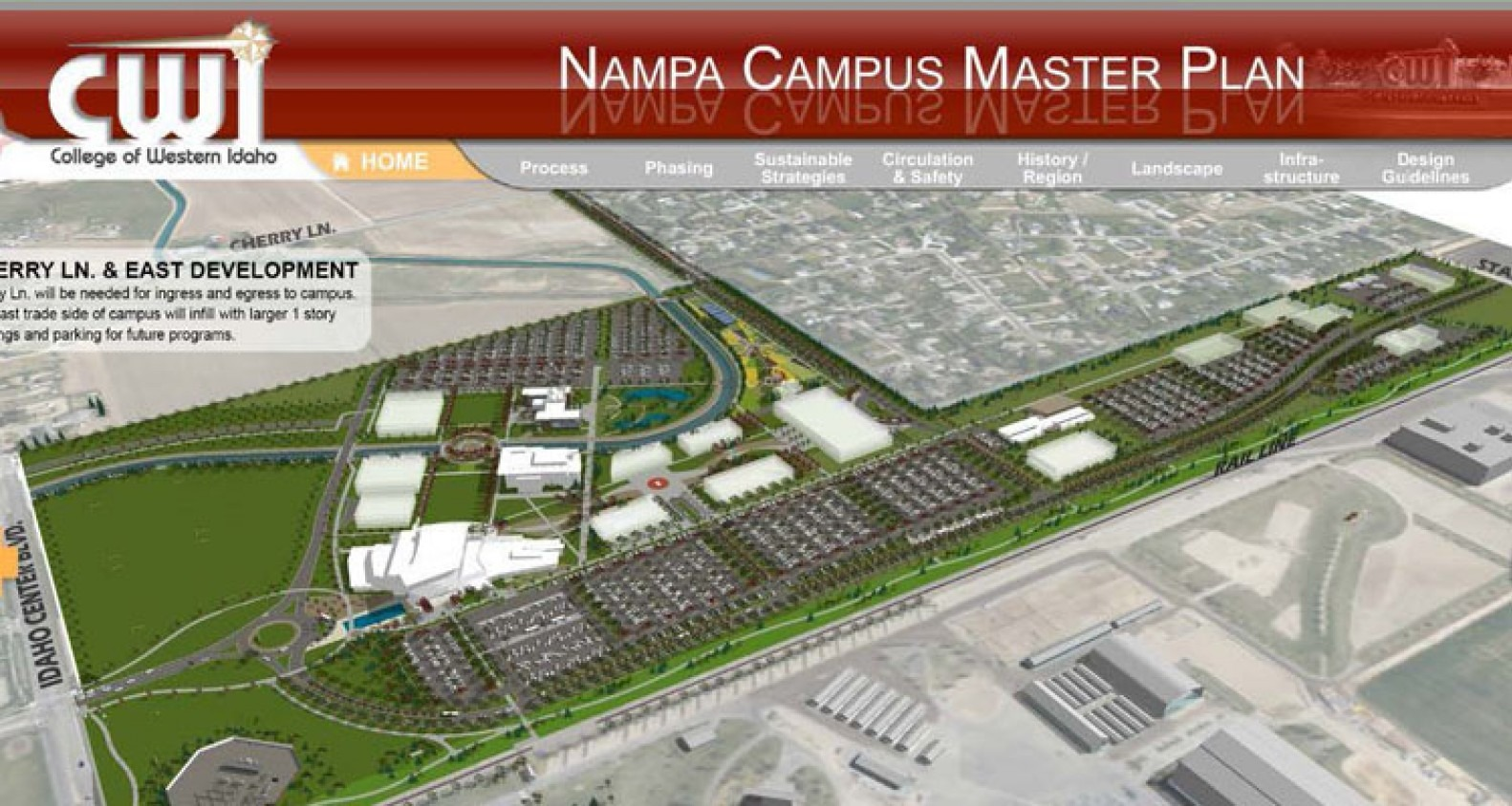 Nampa Campus master plan outlining development with new buildings