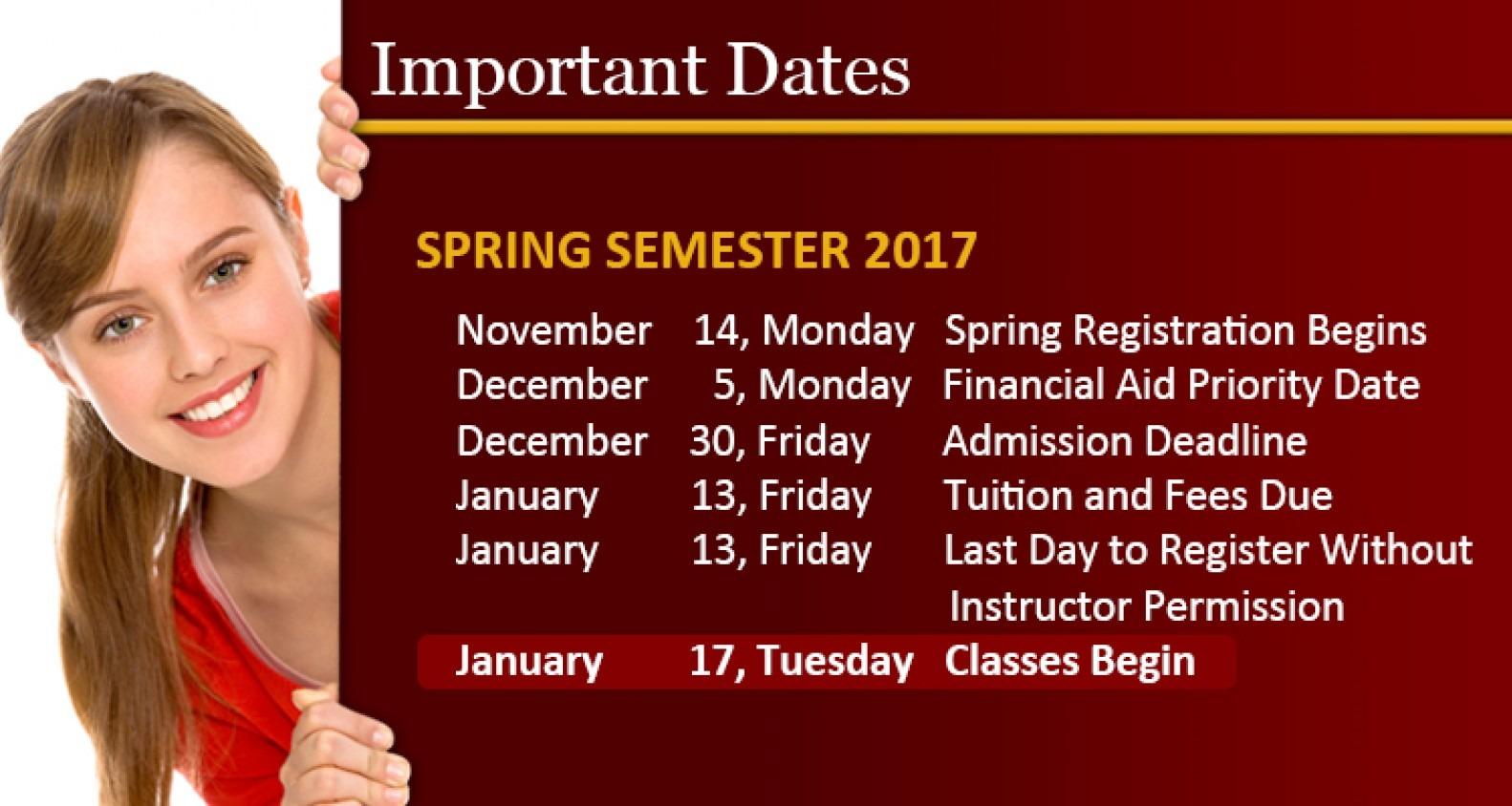 Girl peeking around sign showing upcoming academic dates for Spring 2017 semester