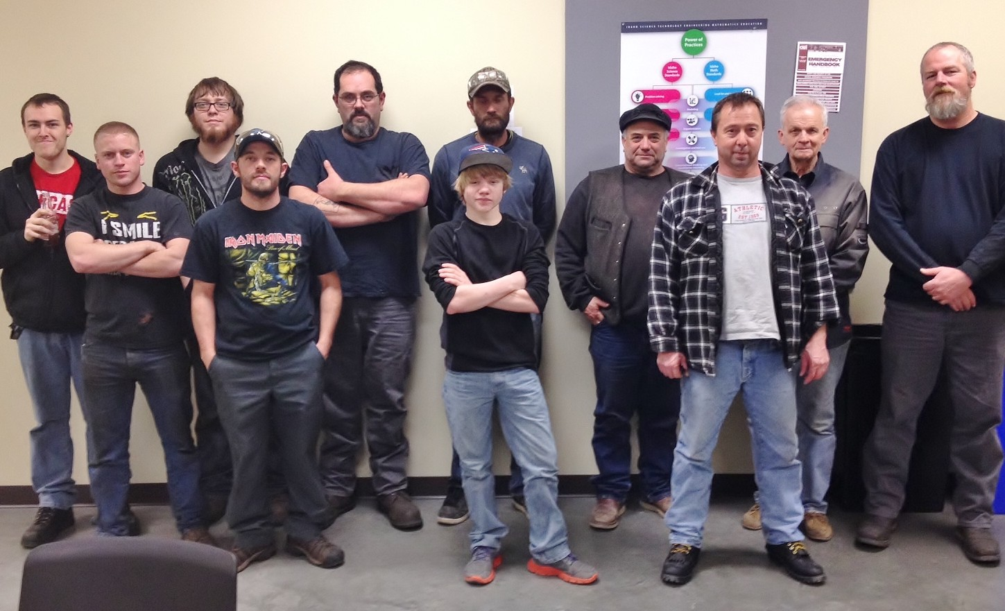 Title - Students from the first workplace welding class at CWI.