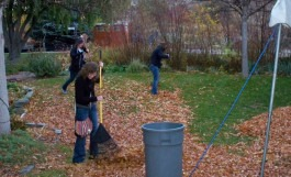 Title - CWI students raking up leaves.