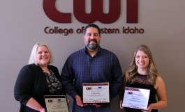 Title - (Left to right): CWI Business Students of the Year: Jessica Hansen, Daniel Velez, and Audrey Waite.