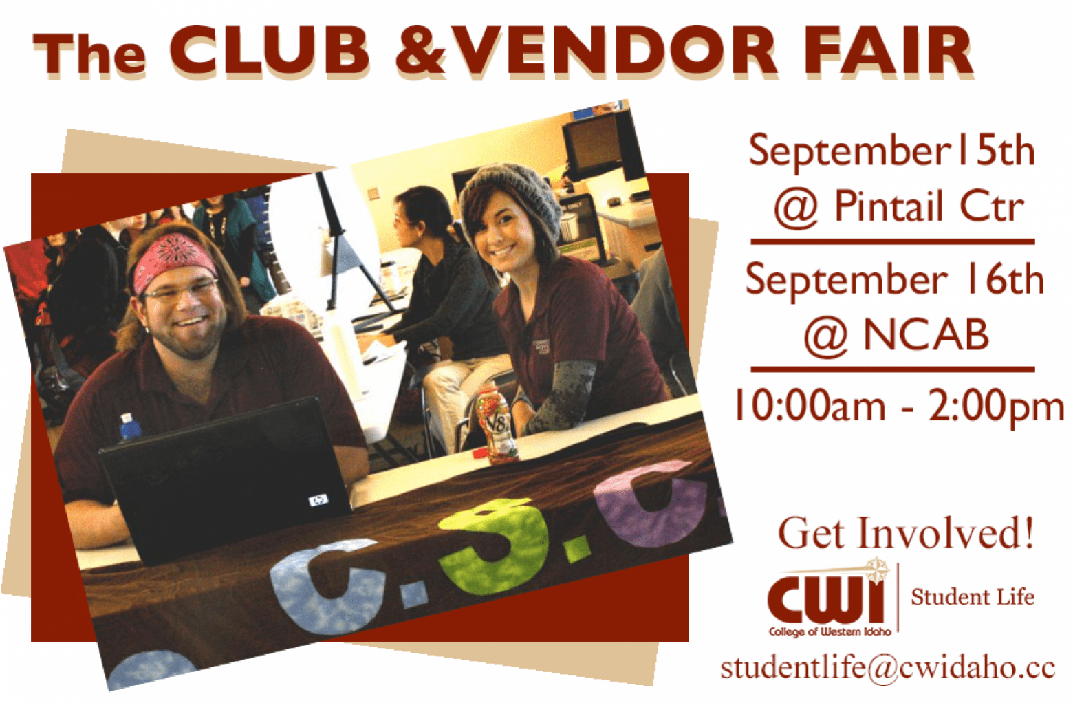 Club and Vendor Fair - September 15 at Pintail Center and September 16th @ NCAB from 10:00am to 2:00pm