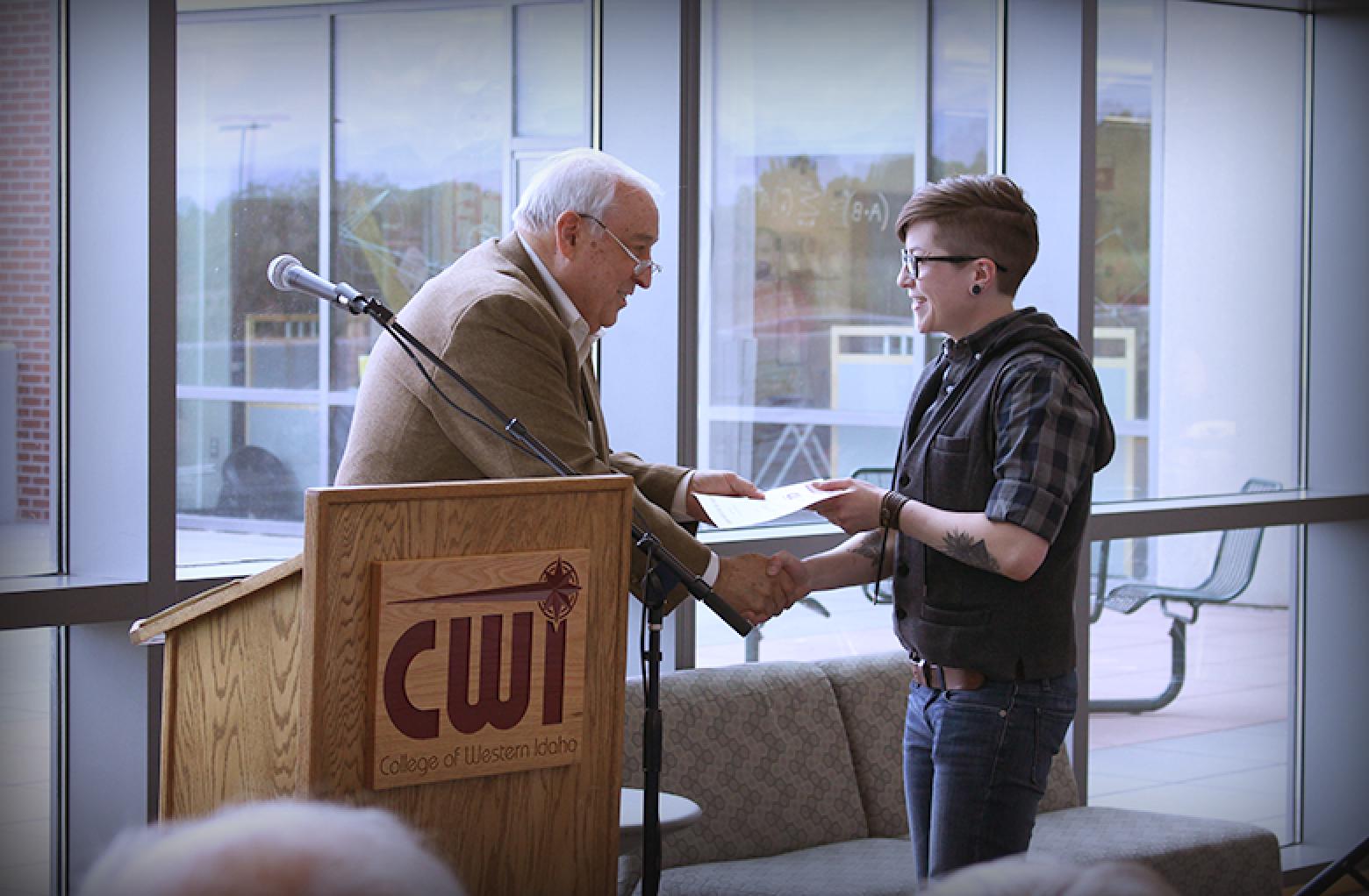 Student recieving an award