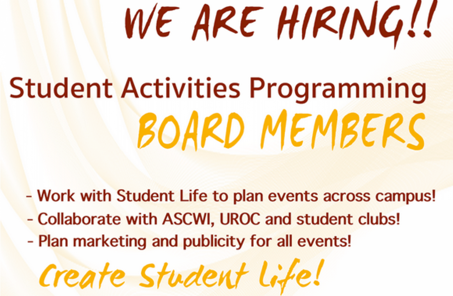 We Are Hiring - Student Activities Programming Board Members