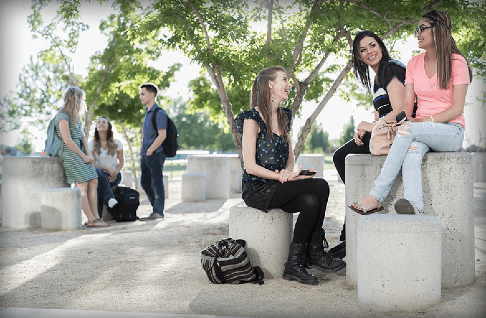 Students outside talking